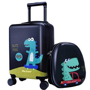 18 Kids Dinosaur Luggage, Hard Shell Travel Carry On Suitcase for Boys Children