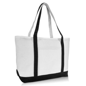 DALIX 23 Premium 24 oz. Cotton Canvas Shopping Tote Bag in Black