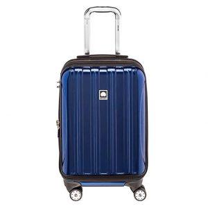 Delsey Luggage Helium Aero, International Carry On Luggage, Front Pocket Hard Case Spinner Suitcase, Cobalt Blue