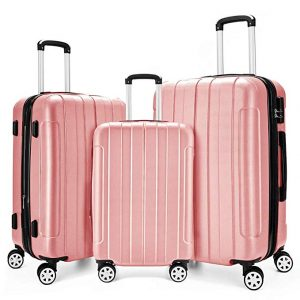 Fochier 3 Piece Expandable Spinner Luggage Set Lightweight Suitcas
