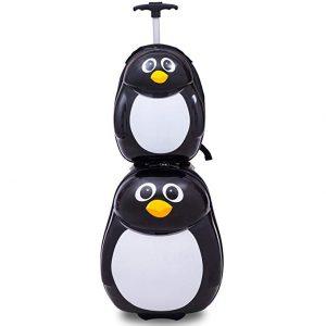Goplus 2Pc 13 19 Kids Carry On Luggage Set Travel Trolley Suitcase (Penguin)