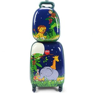 Goplus 2Pc Kids Carry On Luggage Set Upright Hard Side Hard Shell Suitcase Travel Trolley ABS