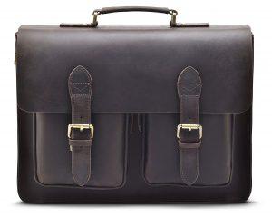 """bd787a478 Hølssen Men's Leather Satchel Briefcase (Dark Brown) Professional Messenger  Bag w/ 15"""" Laptop Pocket"""