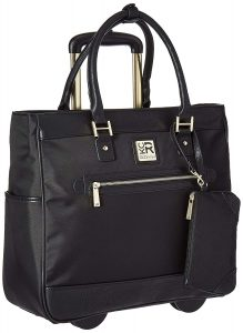Kenneth Cole Reaction Women's Runway Call Nylon Twill Top Zip 17 Wheeled Laptop Business Tote, Black