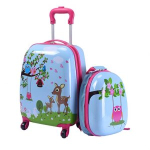 Lucky Link 2pcs ABS Kids Suitcase Carry On Luggage Set for Boys Girls,16 Lightweight Trolley Case + 12 Backpack for Travelling School (Deer & birds)