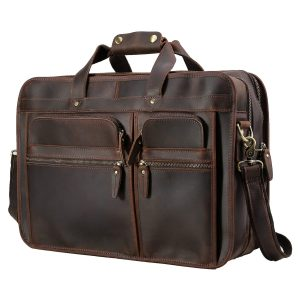 Polare Men's 1 Full Grain Leather Messenger Bag for Laptop Briefcase Tote