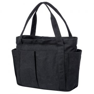 Riavika Canvas Weekend travel Totes Bag Shoulder Bag for Women-Black