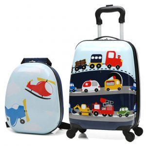 X-tag 2 Pcs Kids Carry on Luggage Set 18 Rolling Suitcase and 13 Backpack Car