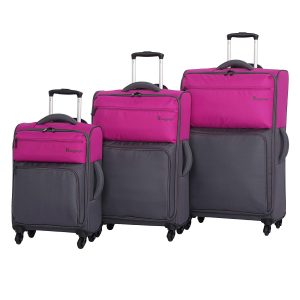 it cheap luggage Duotone 4 Wheel 3 Piece Set, Fuchsia Red Top Half + Magnet Bottom Half
