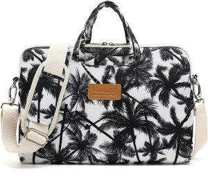 black pattern laptop bag