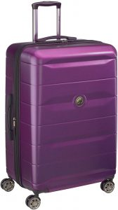 checked large purple suitcase