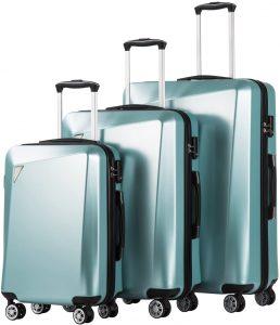 hardshell blue luggage