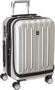 carry on silver luggage