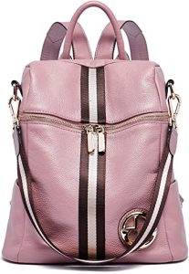 leather pink backpack